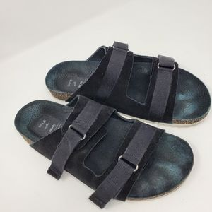 Shoe the Bear black suede leather 2 strap sandals